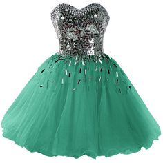 Dressystar Short A-Line Sweetheart Sparkling Beaded Prom Homecoming... ($90) ❤ liked on Polyvore featuring dresses, short green dress, sparkly prom dresses, short cocktail dresses, short homecoming dresses and beaded prom dresses