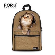 2015 Preppy Style Animal Girls School Bags,Cute Cat Kids School Bag 3D Print Multi-function Outdoor Schoolbag Boys Backpack Free
