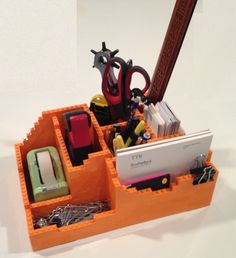 my custom made Lego Desk Organizer!