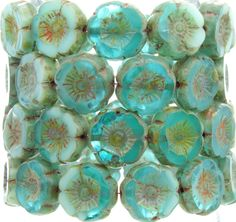 12mm 2 Tone Opaque Blue Turquoise & Transparent Aquamarine Picasso Table Cut Firepolish Czech Flower Glass Beads - Qty 12 (BS516) by beadsandbabble on Etsy