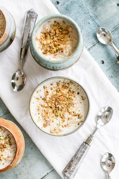 Syrian Rice Pudding w. Orange Blossom Water – Grace J. Silla Syrian Rice Pudding with Orange Blossom Water and Pistachios Arabic Dessert, Arabic Sweets, Arabic Food, Pudding Recipes, Rice Recipes, Sweet Recipes, Cooking Recipes, Pudding Desserts, Arabic Rice Pudding Recipe