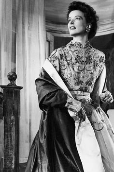 """Katharine Hepburn in the Broadway production of George Bernard Shaw's """"The Millionairess"""" (1952)"""