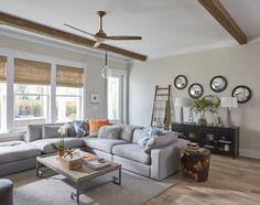 Rustic and Industrial Open Concept Living Room | Sectional Sofa | Wood Beams | Comfortable Living Room | Home Decor | Interior Design Ideas | Designer Linda Holman | Lovelace Interiors