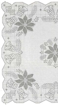 No automatic alt text available. Crochet Patterns Filet, Christmas Crochet Patterns, Holiday Crochet, Crochet Diagram, Crochet Home, Crochet Motif, Crochet Doilies, Crochet Table Runner, Crochet Tablecloth