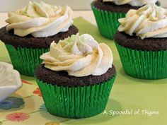 A Spoonful of Thyme: Ganache-Filled Guinness Chocolate Cupcakes with Bailey's Irish Cream Frosting