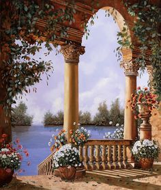 Arch Painting - Le Arcate Chiuse Sul Lago by Guido Borelli