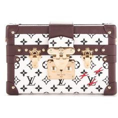 LOUIS VUITTON Monogram Petite Malle Noir Black Blanc White ❤ liked on Polyvore featuring bags, handbags, shoulder bags, white shoulder bag, white crossbody purse, white leather purse, crossbody handbags and leather handbags