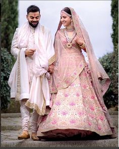 Anushka Sharma Looked Royal in Pink Floral Lehenga By Sabyasachi – Lady India