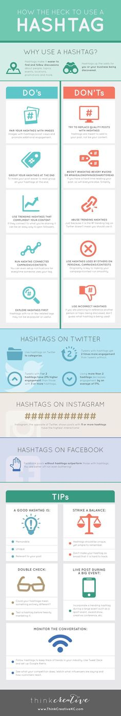 Wie und Wo benutzt man Hashtags richtig *** How the Heck to use a Hashtag - Helpful Infographic