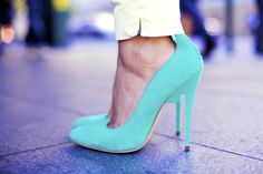 Bright blue pumps add a perfect pop of color to any look.