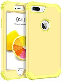 Case for iPhone 8 Plus/iPhone 7 Plus, 3 in 1 Hybrid Hard PC Soft Rubber Heavy Duty Rugged Bumper Shockproof Anti Slip Full-Body Protective Phone Cover for iPhone 8 Plus, Yellow Lemon Iphone Bumper Case, Best Iphone, Iphone Accessories, Iphone 7 Plus Cases, Protective Cases, Full Body, Phone Cover, Lemon, Layers Design