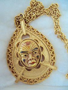 Ghengis Buddha? 1970s necklace, Retro Rosie's Vintage, $42