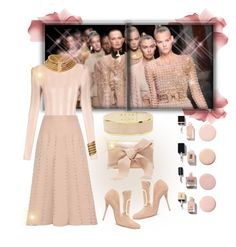 """Balmain In Neutral"" by onesweetthing ❤ liked on Polyvore featuring Bare Escentuals, Balmain, Valentino and Oscar de la Renta"