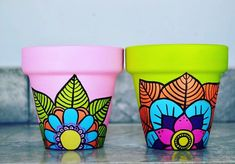 Idea Of Making Plant Pots At Home // Flower Pots From Cement Marbles // Home Decoration Ideas – Top Soop Flower Pot Art, Flower Pot Crafts, Clay Pot Crafts, Painted Plant Pots, Painted Flower Pots, Pots D'argile, Clay Pots, Pottery Painting, Ceramic Painting