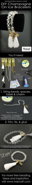 Use Bead Gallery beads to create DIY Champagne on Ice bracelets Jewelry Making Tutorials, Jewelry Making Beads, Beading Tutorials, Jewelry Making Supplies, Wire Jewelry, Boho Jewelry, Jewelry Crafts, Beaded Jewelry, Jewelery