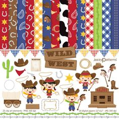 Little cowboys clipart and digital scrapbooking papers pack Wild West DK007 instant download