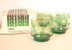 Vintage Libbey Belaire Green Leaf Pattern Rocks Glasses in Original Box Set of 4 Circa 1970's by HouseofLucien