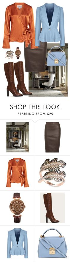 """Lady in the Office☎️📈📊"" by parnett ❤ liked on Polyvore featuring Hooker Furniture, By Malene Birger, Chelsea28, Effy Jewelry, Frye, WithChic and Mark Cross"