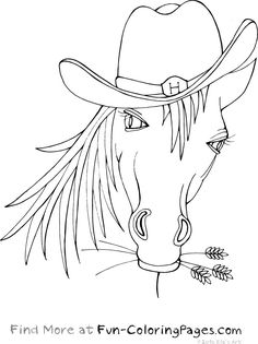 Animals Fun Coloring Pages - Horse With Cowboy Hat