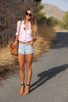 Pink Button Down Tucked into pinstripe denim Shorts - Daytime Dressy Outfit