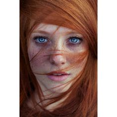 Beautiful Portraits Of Redheaded Models Are Bursting With Summer's... ❤ liked on Polyvore featuring beauty products