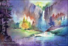 Waterfall Watercolor Painting. Hidden by MichaelDavidSorensen, $30.00