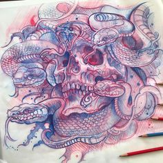 "4,633 Likes, 42 Comments - Derek Turcotte (@drkturcotte) on Instagram: ""Medusa skull sketch! Idea for painting or tattoo, #sketch #worldofpencils @electricgrizzlytattoo"""