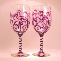 Purple Swirl Wine Glasses /  2