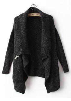 Black Draped Collar Bat Sleeve Wool Trench Coat