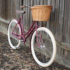 ReCycled czech lady bike / sturmey archer 3 speed hub / leather handlebar grips / continental retro ride tires / selle royal saddle / basket:)