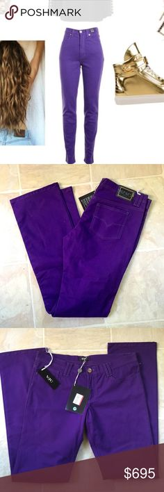 ❗️VERSACE Authentic Purple Couture Jeans NWT $895! ❗️VERSACE Authentic Jeans Couture Purple Jeans. NWT retails $895! Size 33. Jeans are not high waist and regular rise. Regular flare. Make a reasonable offer & its yours! Im moving soon and everything must go! Or get 30% off bundles! Versace Jeans