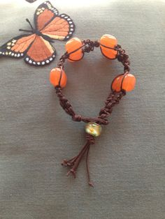 Handmade brown macrame cord with peach by TranquillaCreations, $12.00