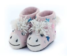 Celeste is a pretty pale pink unicorn, with stars and glitter, and a lovely fluffy mane and tail. Sew Heart Felt slippers are created by shaping Felted Slippers, Nuno Felting, Felt Hearts, Toddler Shoes, Soft Suede, Embroidered Flowers, Unicorn, Pouch, Babys