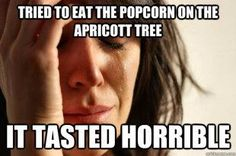 eating popcorn from the apriocot tree. Mormon/LDS humor.