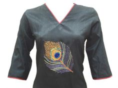 photo 2 of 3 Ethnic Indian Semi Raw Silk Kurta Kurti Top Dress Peacock Hand Embroidery 902610 | eBay