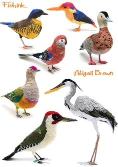 Beautiful and vibrant fabric bird sculptures by Abigail Brown (via the Fishink blog)