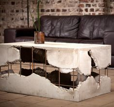 Here is my new self made coffee table. I hope you like it . Here is my new s Concrete Table, Concrete Furniture, Concrete Design, Metal Furniture, Industrial Furniture, Furniture Decor, Furniture Design, Pallet Furniture, Outdoor Furniture