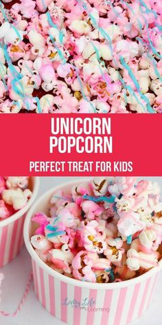 Unicorn Popcorn - Candy - Ideas of Candy - Do your kids love unicorns? They seem to be the sensation with children but more so lately. We have been having fun with it all! So now we will share with you a fun and delicious Unicorn Popcorn Recipe! Popcorn Snacks, Candy Popcorn, Flavored Popcorn, Popcorn Bar, Gourmet Popcorn, Rainbow Popcorn, Colored Popcorn, Marshmallow Popcorn, Sweet Popcorn