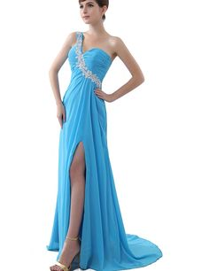 Sarahbridal Women's One Shoulder High Slit Party Evening Gown Blue Size US 4 => Additional details found at the image link  : Dresses