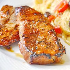 """Honey Ginger Dijon Glazed Pork Chops - """"a terrific, super tasty workday meal in about 20 minutes using simple ingredients that may already be in your fridge. Works well on the grill or under the broiler."""""""