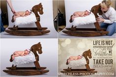 Composite of baby posed on rocking horse padded with blankets