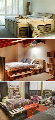 Кровати из деревянных паллет
