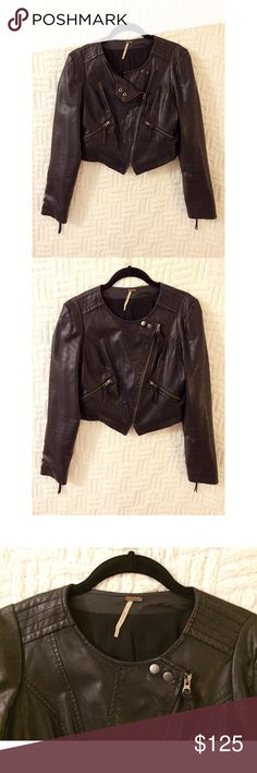 Free People Vegan Leather Moto Jacket Free People vegan leather cropped Moto jacket.  Preowned, shows wear on the back and inside near the brand tag area.  100% polyurethane.  Size 4.  No trades / modeling.  {closet12} Free People Jackets & Coats