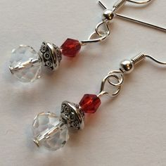 FINAL SUPER SALE ❤️️ Cute Clear & Red Earrings Glass Beads, Clear Donut, Silver spacer, Red Bi-Cone, hung on Silver Tone Earhook Jewelry Earrings