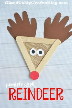 Popsicle Stick Reindeer Craft. Make adorable reindeer crafts with your kids this…
