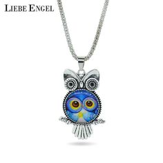 LIEBE ENGEL fashion Owl pendant necklace newest glass cabochon necklace in jewelry vintage silver color statement chain necklace #jewelryvintage