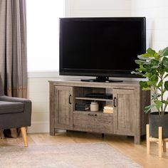 Weathered Oak Corner TV Stand - Lionel | RC Willey Furniture Store