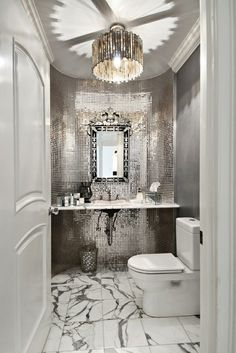 Gorgeous powder room, love the mirrored tile. Wonder if that would be a good idea in our powder room, especially with the black sucking up all the light. Bad Inspiration, Bathroom Inspiration, Bathroom Ideas, Bathroom Designs, Bathroom Organization, Bathroom Inspo, Cloakroom Ideas, Budget Bathroom, Bathroom Layout