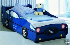✔ Kids Blue Single Race CAR Trundle BED Racing Boys CAR BED | eBay