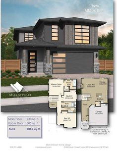 The open spaces and comfortable bedrooms of this Northwest Modern House Plan combined with the lovely natural exterior will make you feel instantly at ease. Bungalow Floor Plans, Home Design Floor Plans, Craftsman Style House Plans, House Floor Plans, Contemporary House Plans, Modern House Plans, Modern House Design, House Plans Mansion, Ranch House Plans
